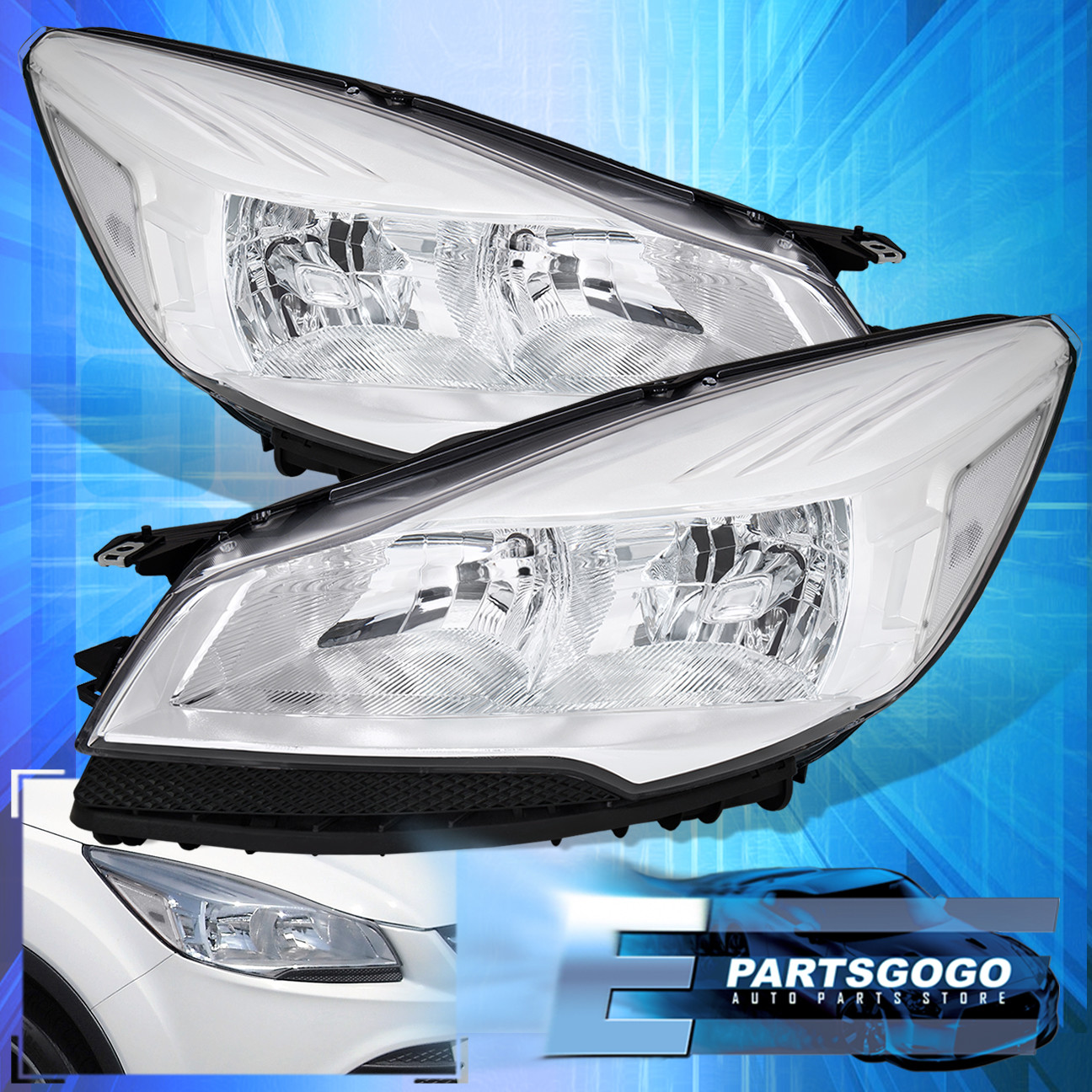 Clear Headlight For 13-16 Ford Escape Clear Corner Reflector Front Driving  Lamp