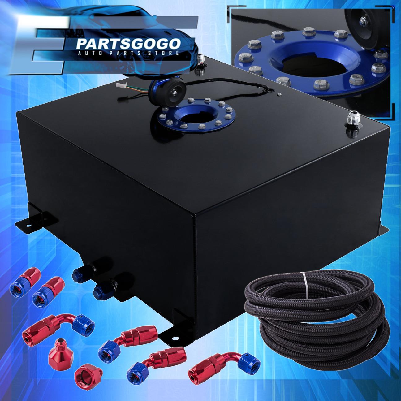 Black Aluminum Fuel Cell Gas Tank 13 Gallon 50L Blue Cap Braided Oil Feed Line