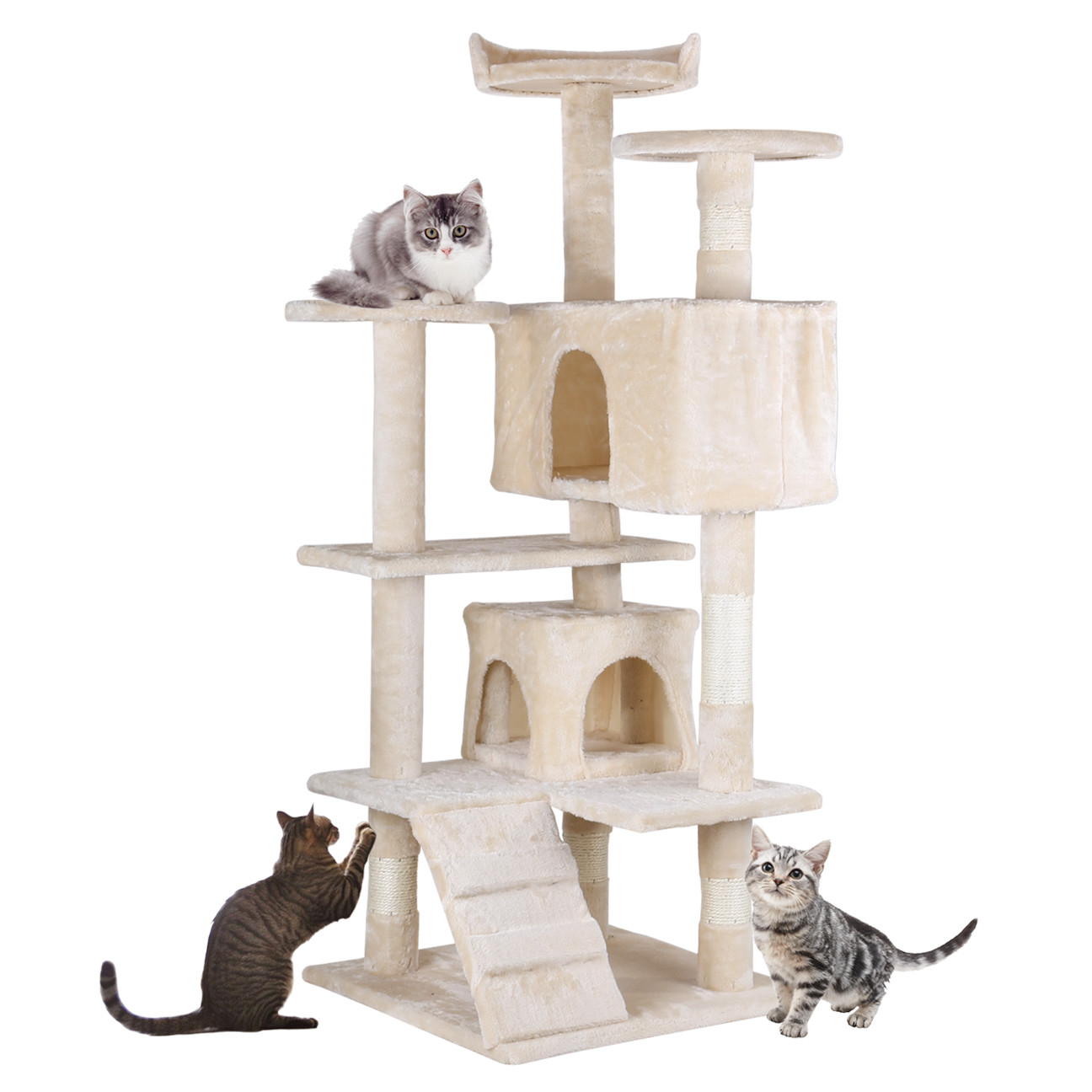 "Home Gym Furniture: 53"" Cat Tree Furniture Scratch Post Pet House Home Gym"