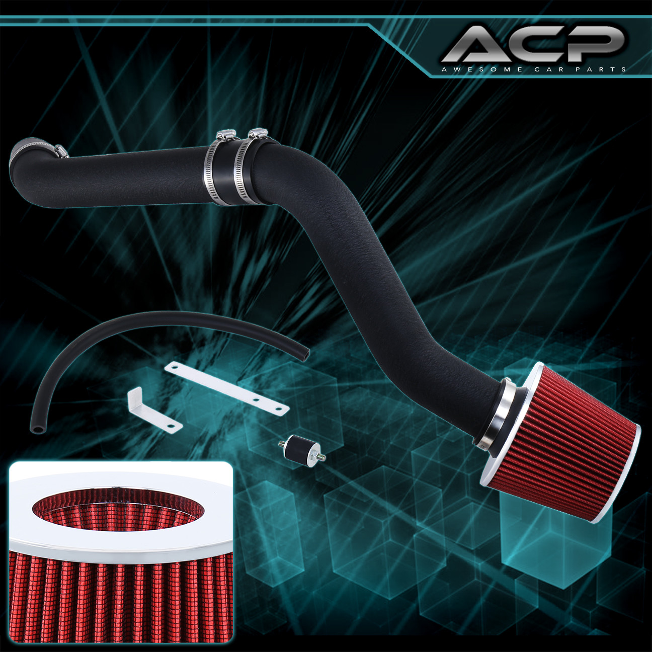 BLACK DRY FILTER FOR 96-98 Civic HX EX 1.6L L4 RAM AIR INDUCTION INTAKE KIT