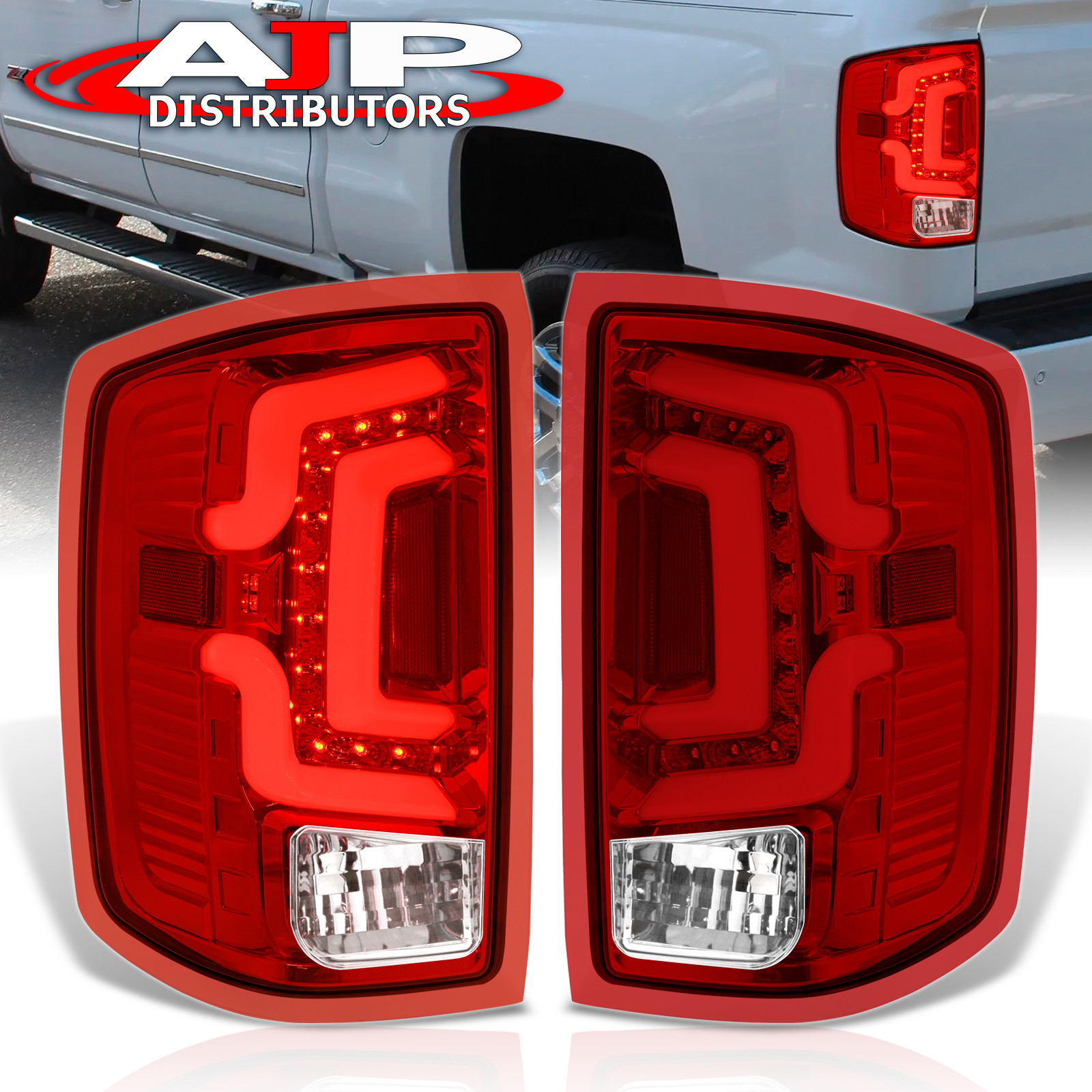 Details about Red Len 14-18 Silverado Led Neon Tube Replacement Tail Lights  Lamps Left + Right