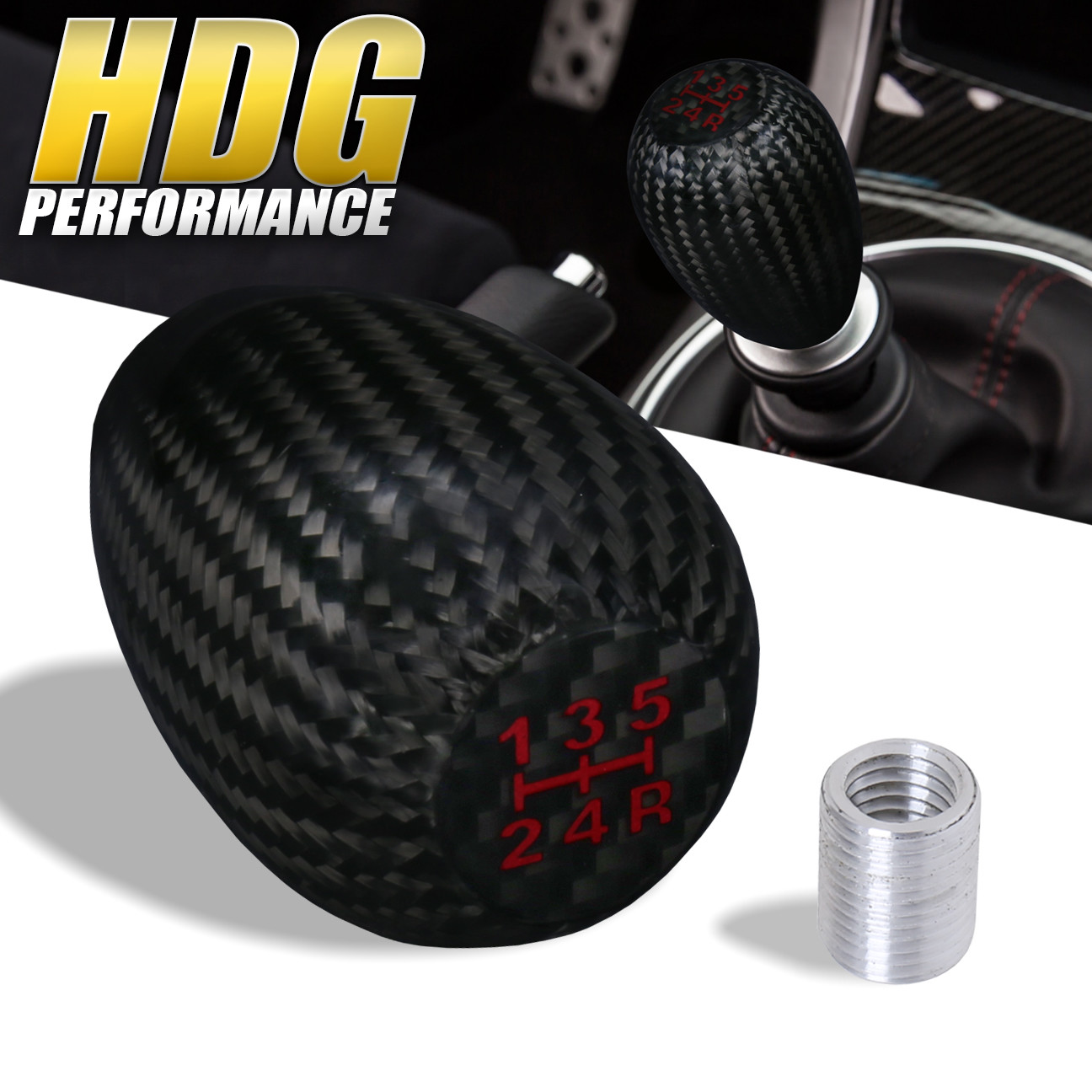 Real Carbon Fiber Type-R Manual Transmission Gear Shift Shifter Knob Universal 5
