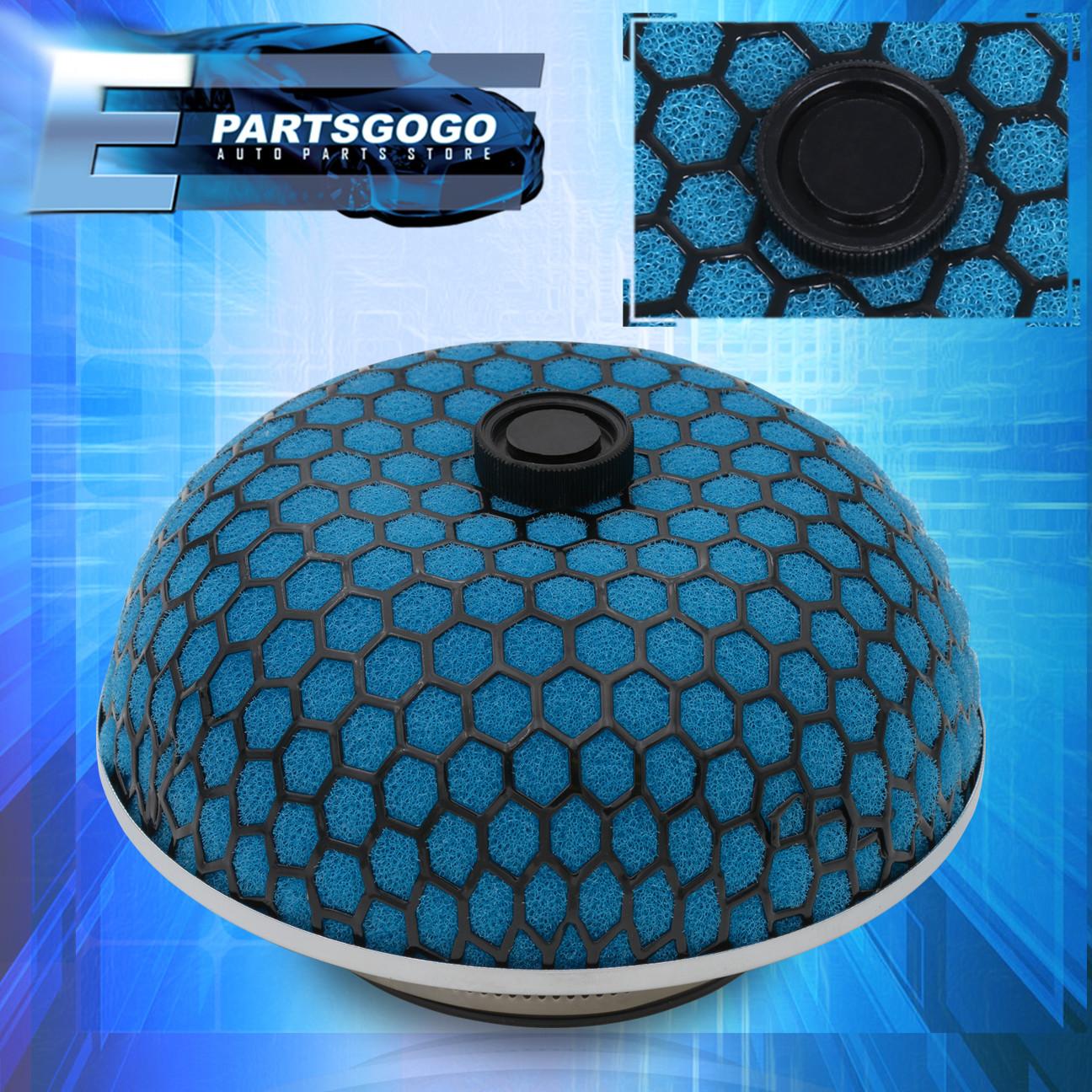 "Black Mesh Cold Air Filter 3/"" Mushroom Style Turbo Intake Blue Microfoam"