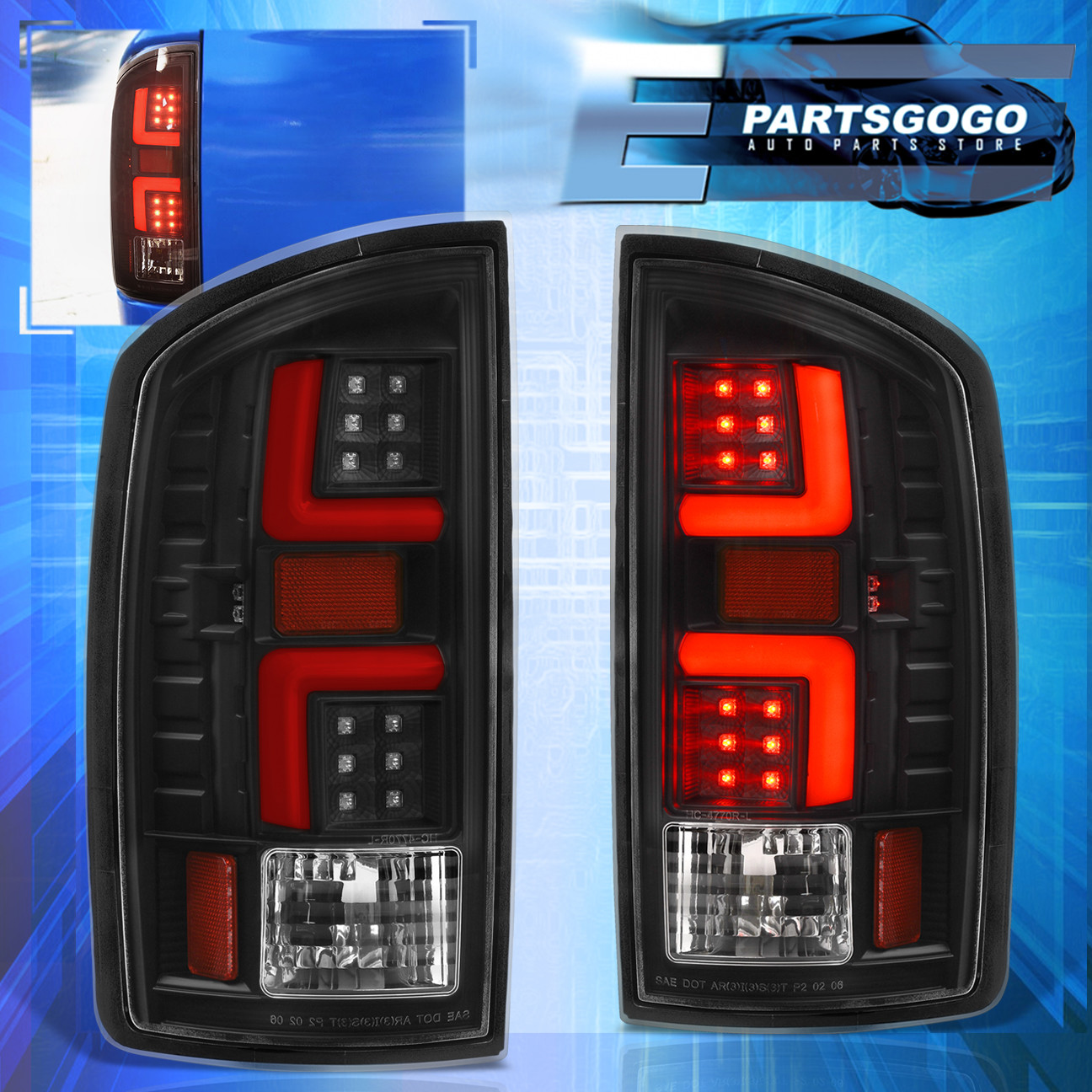 FOR 07-08 DODGE RAM 1500//2500//3500 LED TAIL BRAKE LIGHTS RED//CLEAR LEFT+RIGHT
