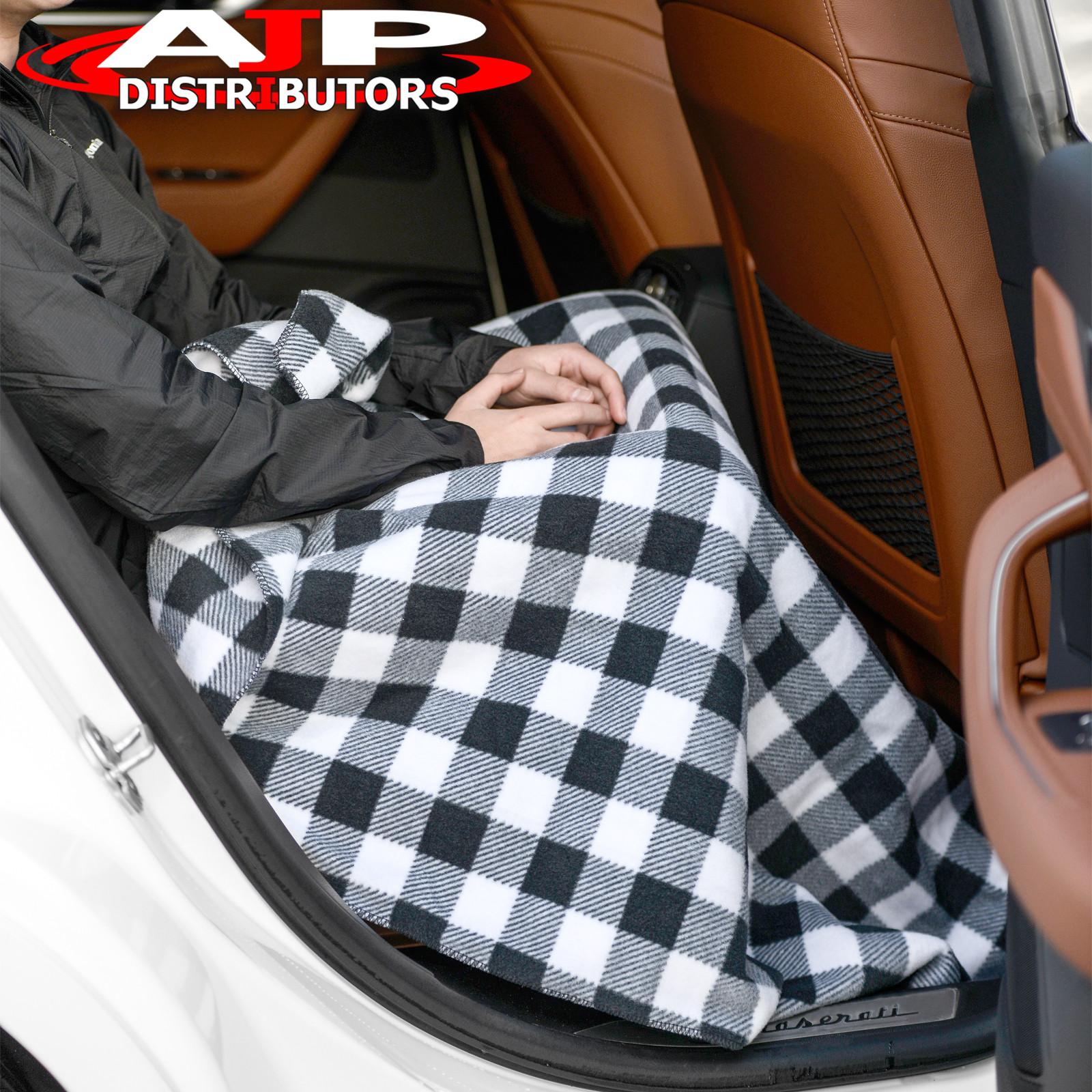 12V Heated Electric Fleece Gray Grey Cozy Blanket Automotive Car Truck SUV Van