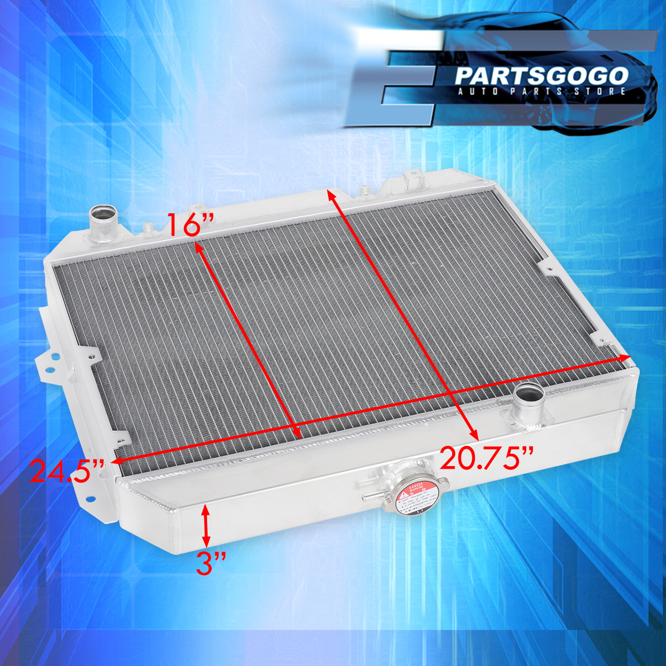 FOR 75-78 DATSUN 280Z FAIRLADY Z 3-ROW FULL ALUMINUM RACING RADIATOR+X2 FAN
