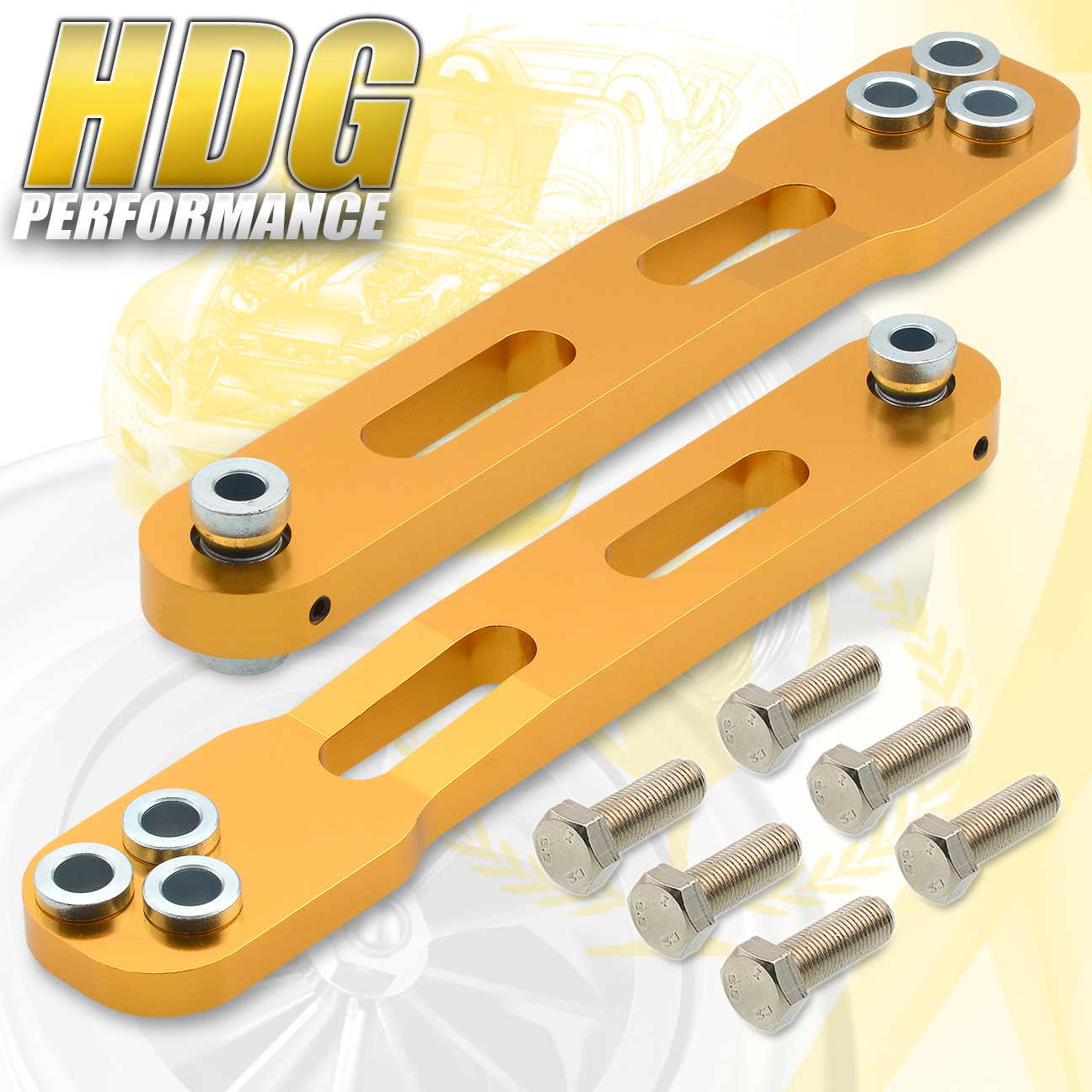 2pc Gold Rear Lower Control Arm Suspension Upgrade Set For