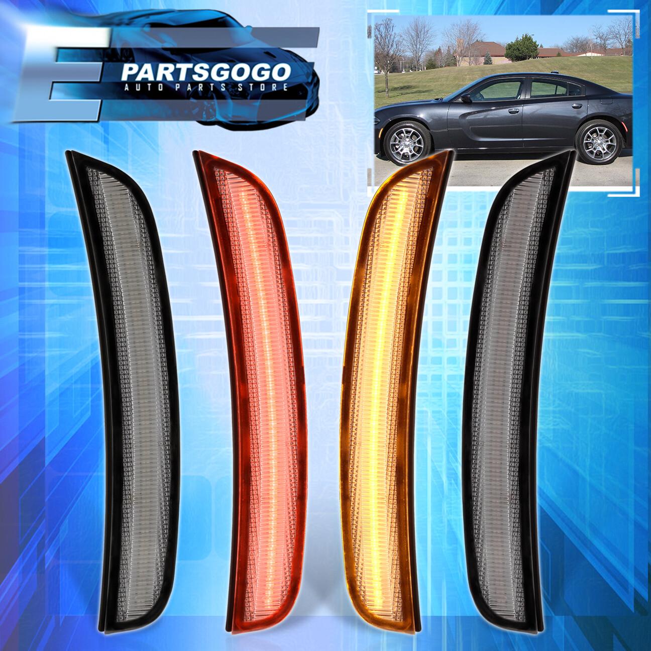 For 15-19 Dodge Charger Front Clear Amber LED Bumper Side Marker Signal Lights