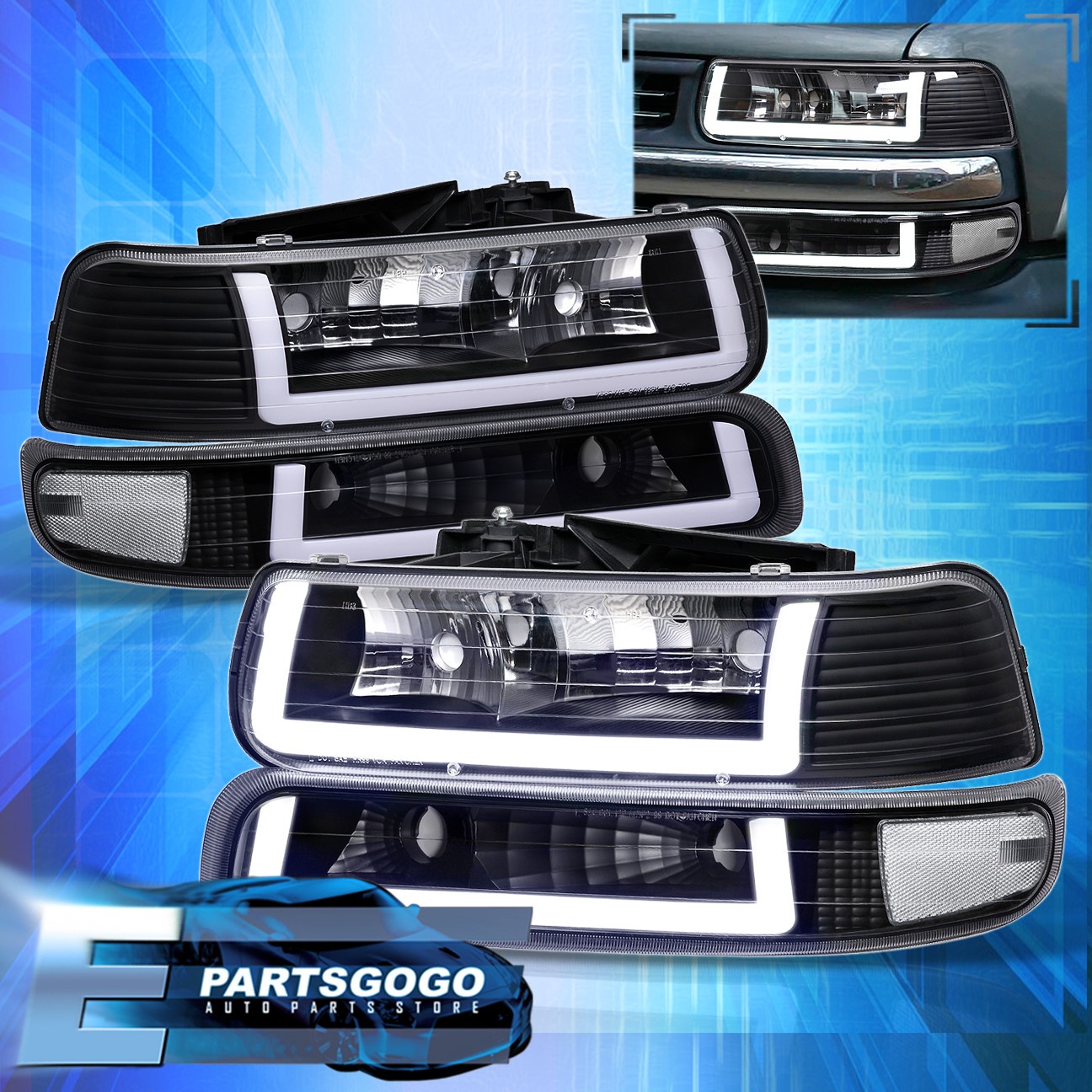 for 99 02 silverado tahoe led drl black housing clear lens headlights assembly ebay details about for 99 02 silverado tahoe led drl black housing clear lens headlights assembly
