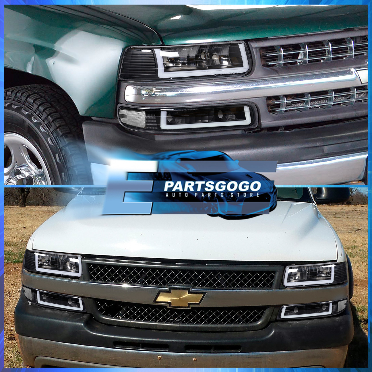 For Chevy Silverado Suburban Tahoe Smoked Lens Amber LED Front Bumper Signal Lights Lamps Assembly