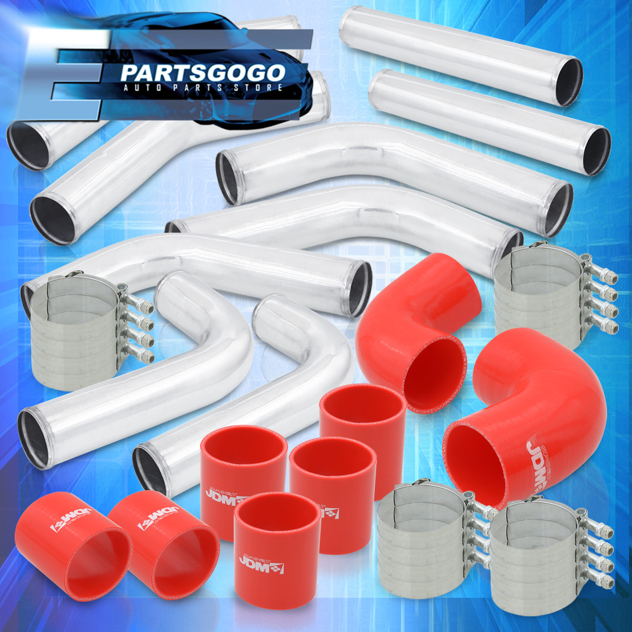 """T-CLAMP RED SILICONE HOSE UNIVERSAL 2.5/"""" 12PC CHROME ALUMINUM FMIC PIPING KIT"""