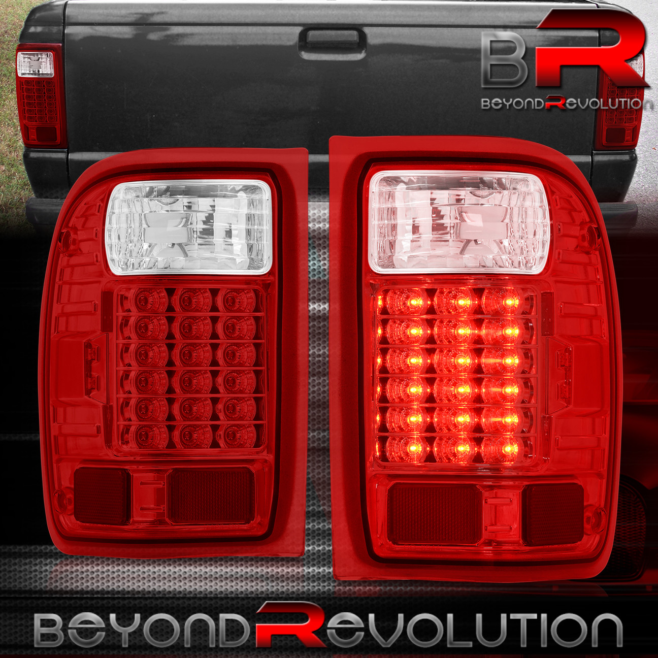 93 99 Ford Ranger Led Tail Lights Lamp Housing Red Clear Lens Replacement Pair