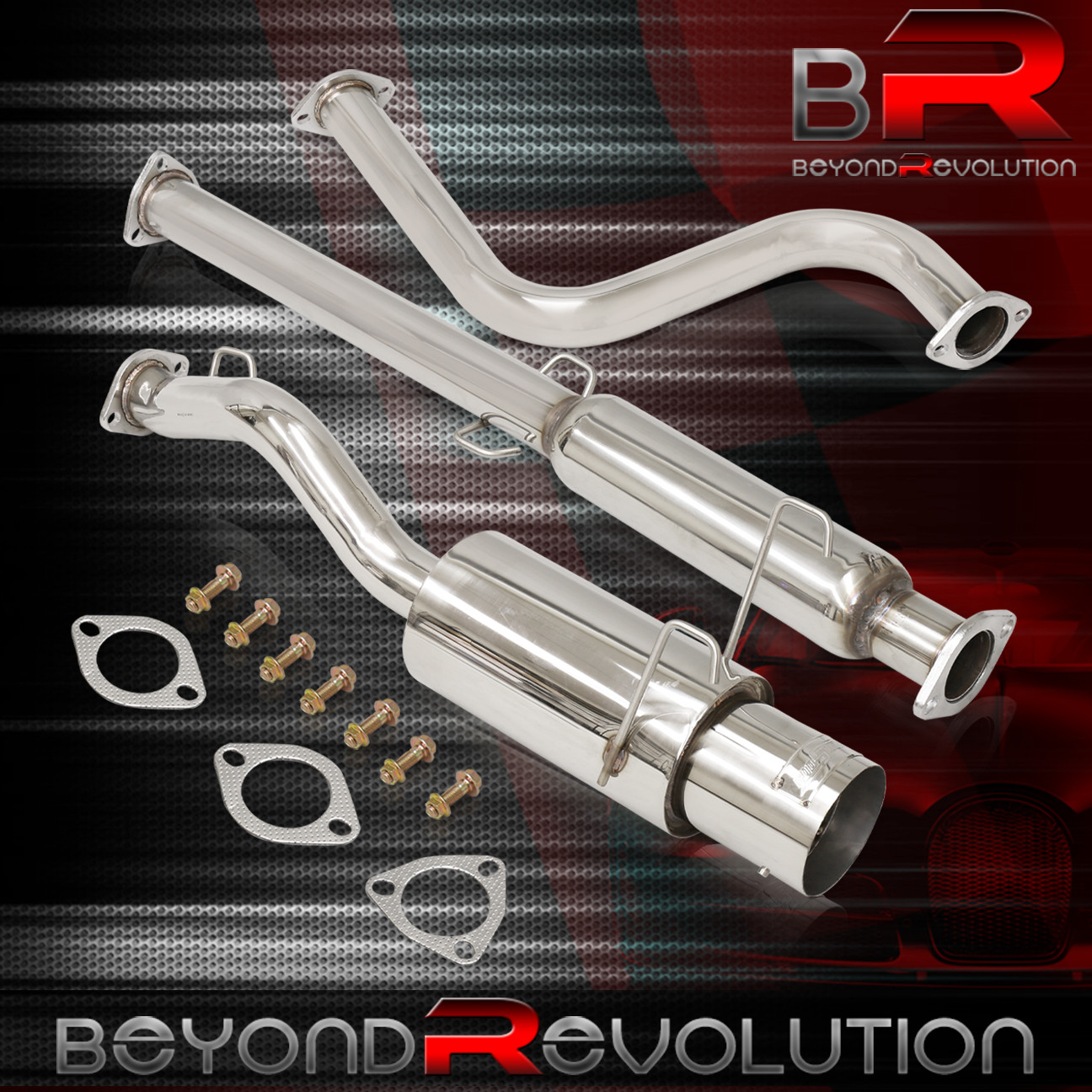 """4.5/"""" MUFFLER TIP STAINLESS RACING CATBACK EXHAUST SYSTEM 93-97 DEL SOL EG EH SI"""