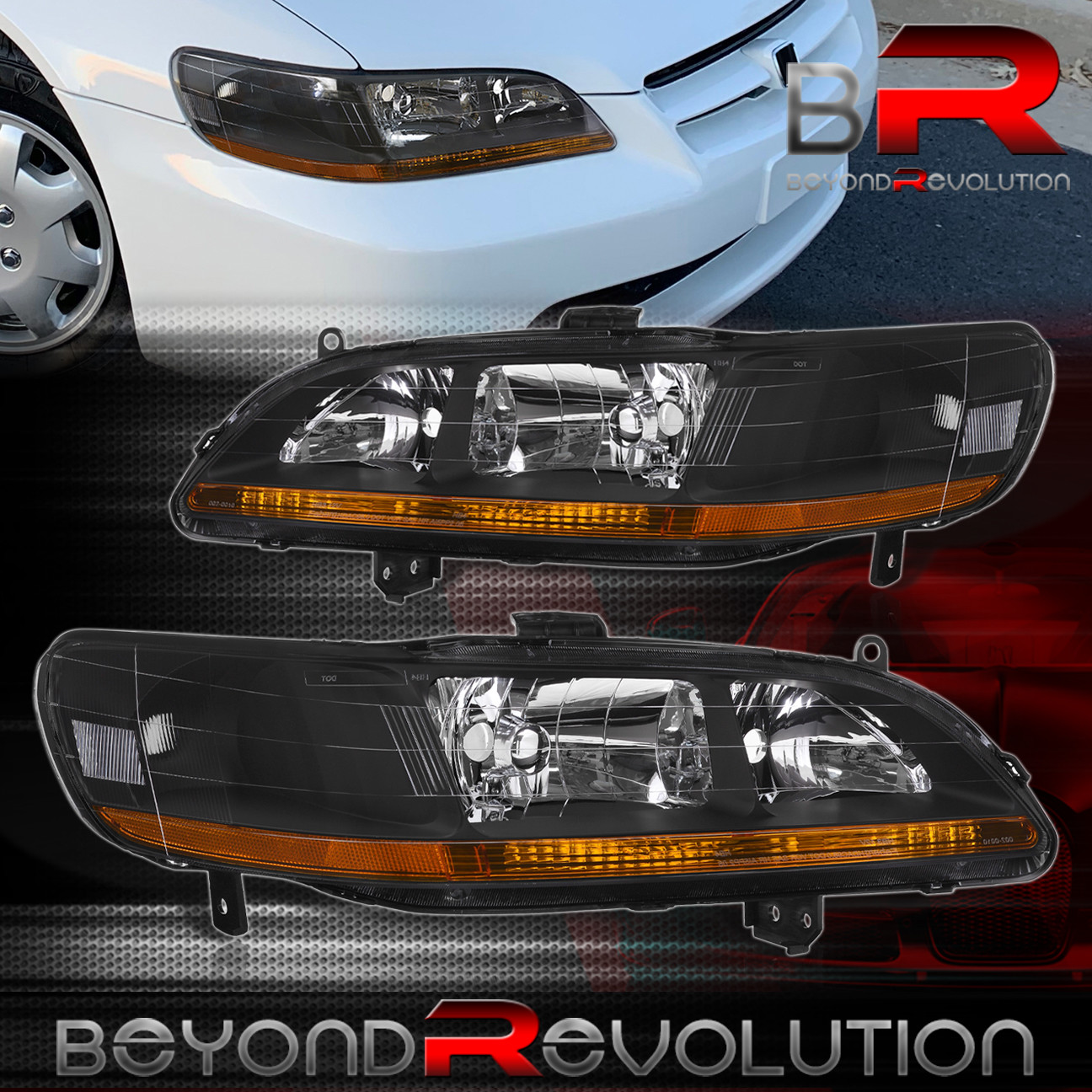1998 2002 HONDA ACCORD EX LX DX L4 V6 JDM BLACK AMBER HEADLIGHTS LAMPS PAIR
