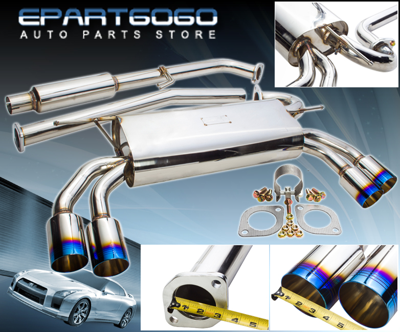 "Fit 2009-2014 Genesis Coupe 2.0 Turbo Stainless Catback Exhaust 3.5/"" Quad Tips"