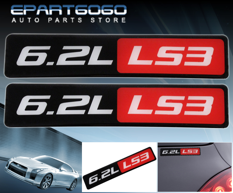 2 x LS3//6.2L//V8 Bumper//Trunk//Engine//Hood Red Aluminum Sticker Decal Emblem Badge