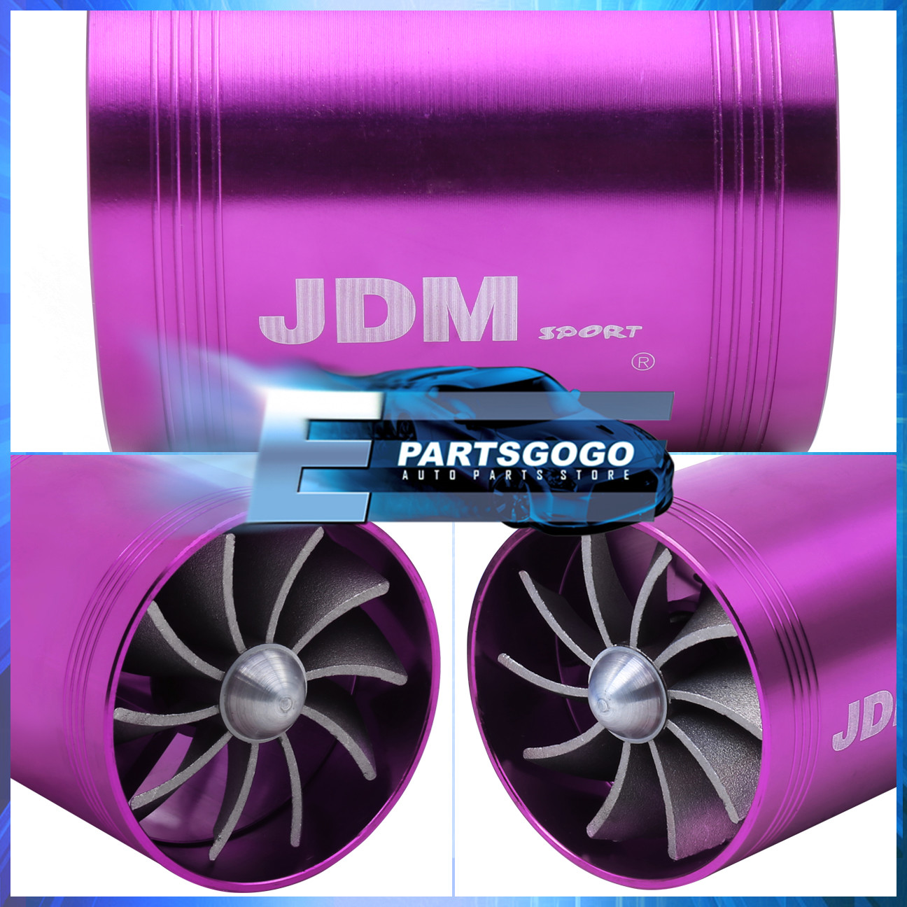 """Jdm 2.5/"""" Supercharger Intake /""""In-Pipe/"""" Gas Saver Fuel Dual Fan Speed Kit Chrome"""