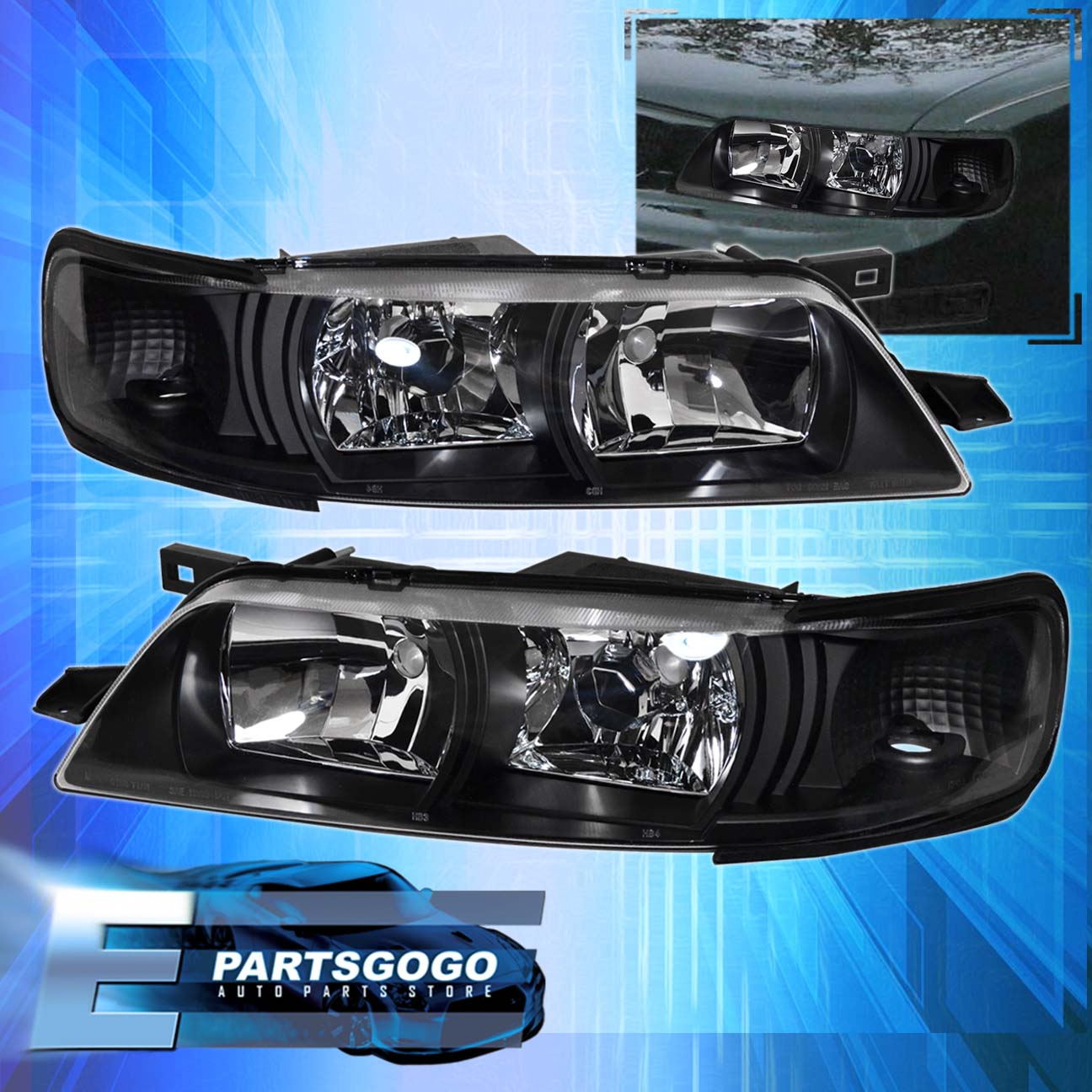 FOR 95 99 Maxima JDM Crystal Black R34 Headlights With 6000K 8 LED DRL Fog  Lamps | EBay