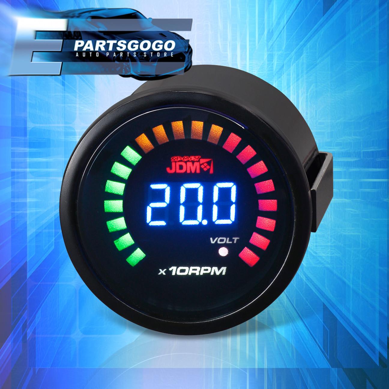 Led Automotive Gauges : Quot mm rpm tachometer volt blue digital led auto gauge