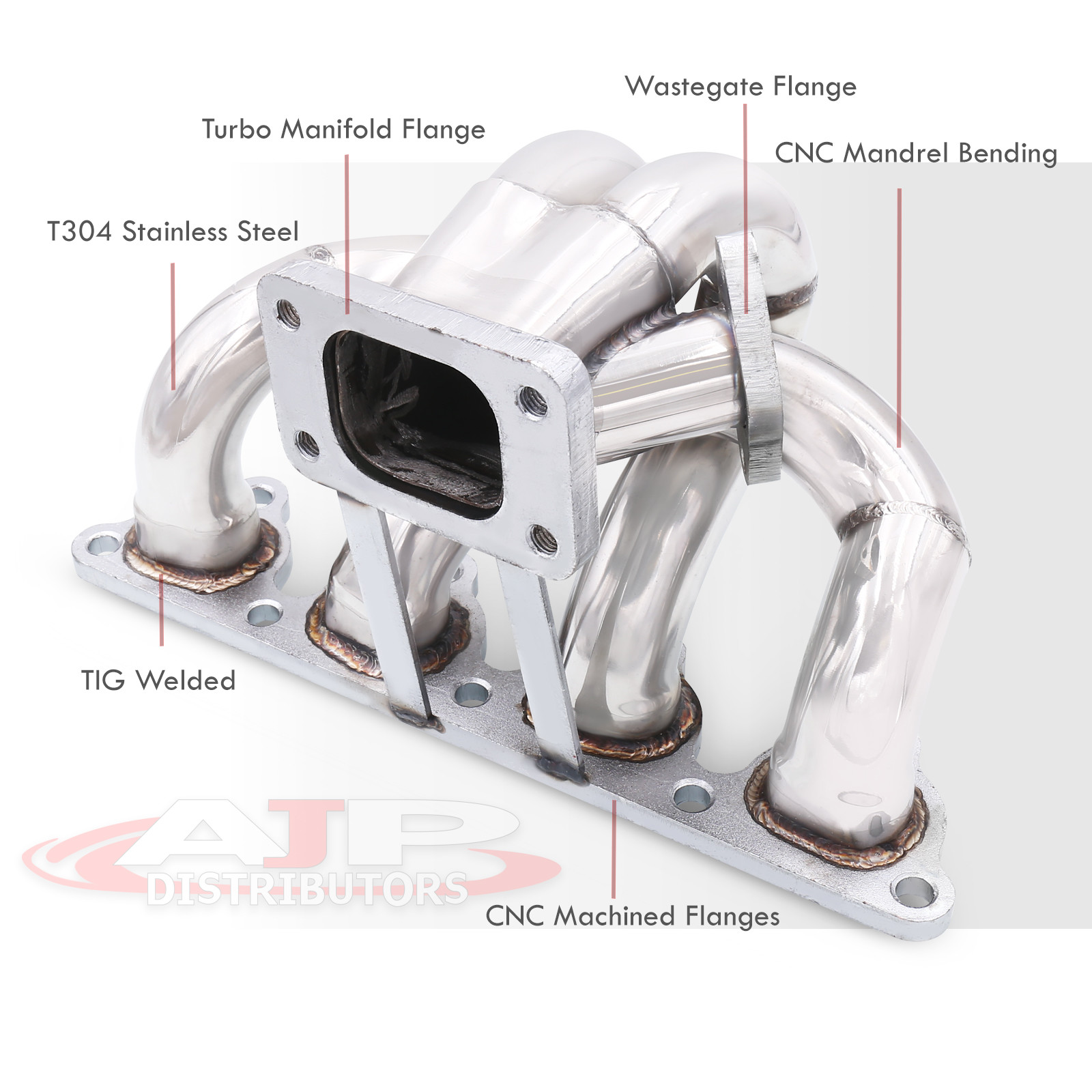 T3 T3//T4 Turbo Flanged Cast Iron Exhaust Manifold Upgrade with Centered 35//38mm Wastegate Flange For D-Series Sohc Engines