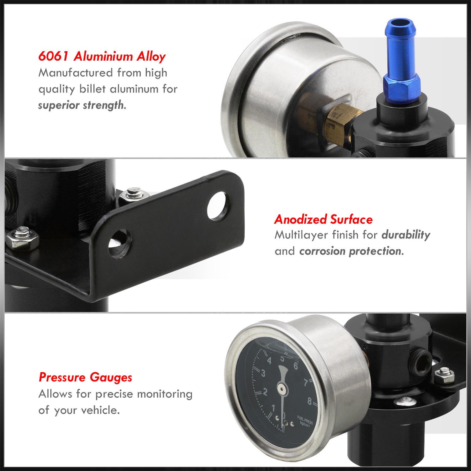 Black Adjustable Fuel Pressure Regulator Gauge Jdm Fpr 1:1 0-140 Psi Jdm Vip Set