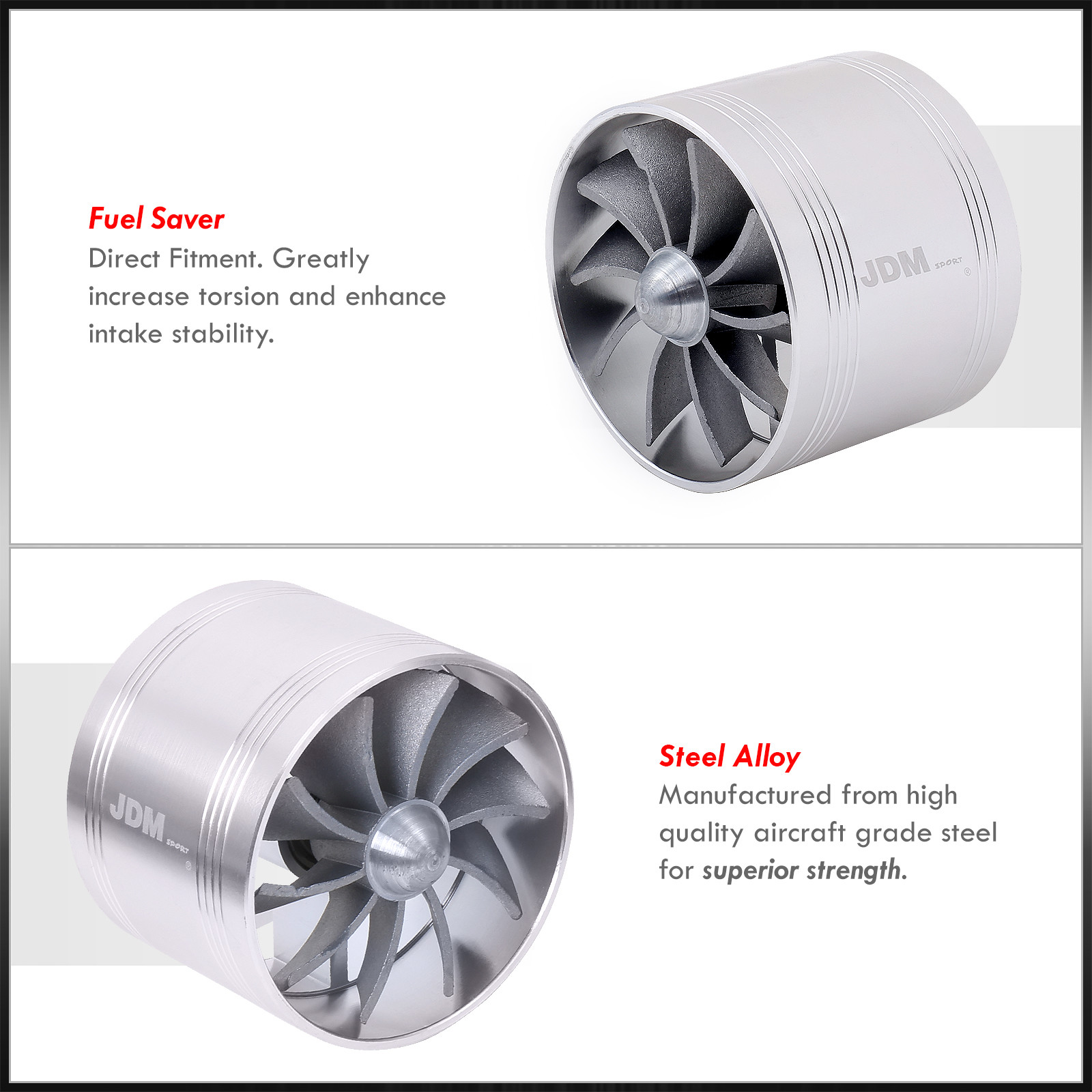 """3/"""" Air Short Ram Intake Supercharger Single Fan Gas Fuel Saver Silver For Nissan"""