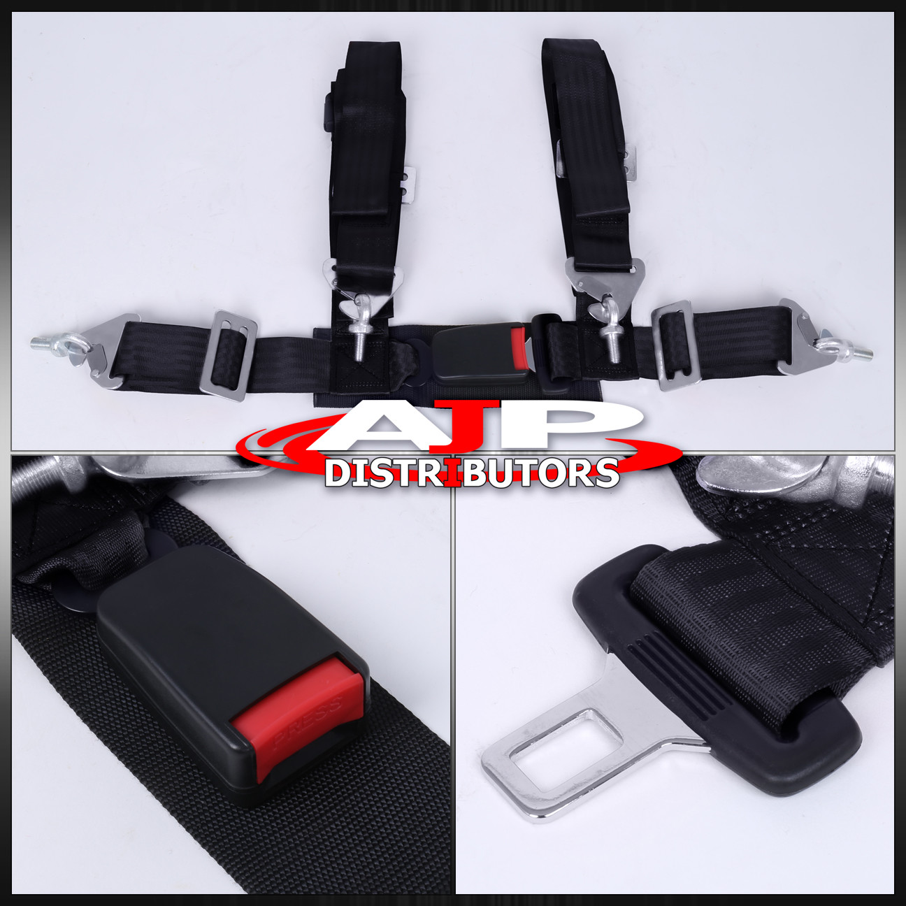 Details about Pair Of 4 Point Harness Racing Seat Belts Black Honda  Civic/Del Sol/Crx