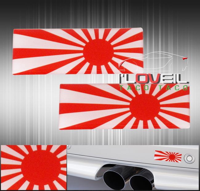 2x white red sun japan flag jdm adhesive emblem decal sticker badge fender door