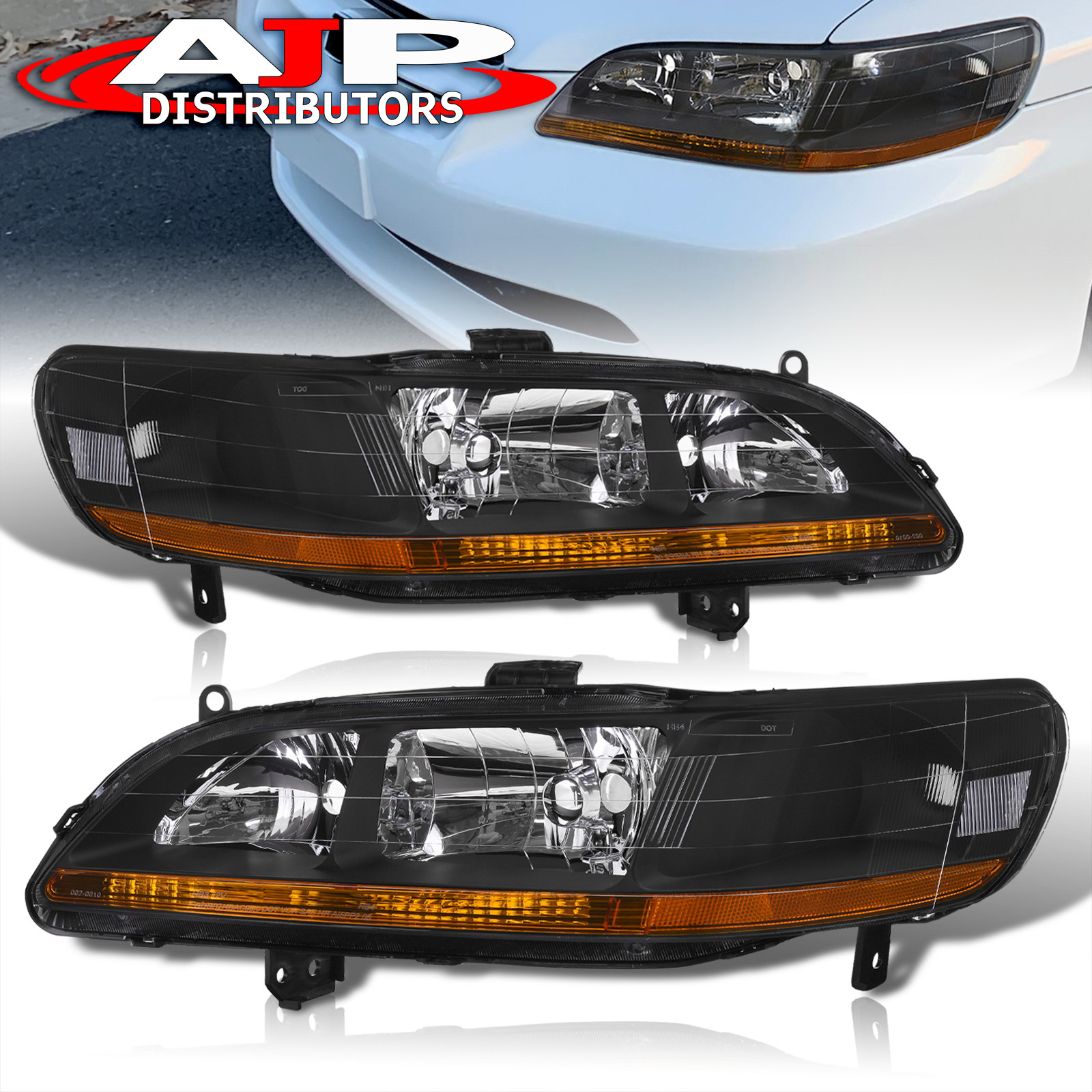 98 Honda Accord Coupe For Sale: 98-02 ACCORD DX LX EX V6 JDM BLACK HEADLIGHTS W/ AMBER