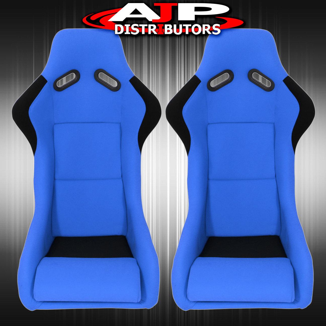 2X Jdm Firm Hold Track Style Full Cloth Racing Bucket Seats W// Slider Rails Blue