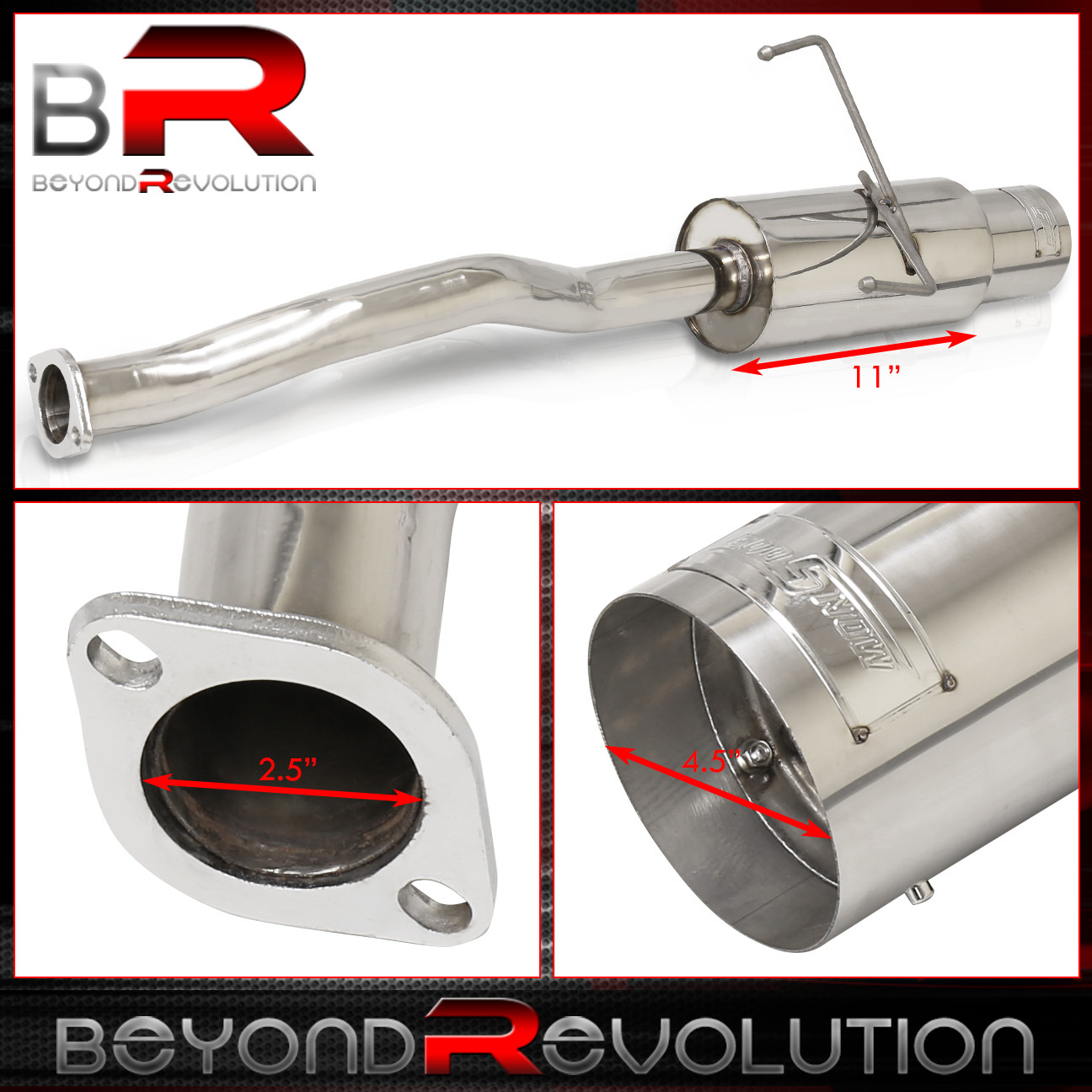 """2.5/"""" INLET CATBACK EXHAUST SYSTEM STAINLESS PIPES 4.5/"""" TIP FOR 01-05 CIVIC EM"""
