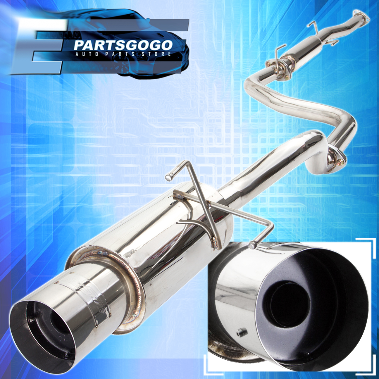 """Catback Muffler Exhaust Stainless 4.5/"""" Tip 2.5/"""" Piping Gold For 01-05 Civic Ex"""