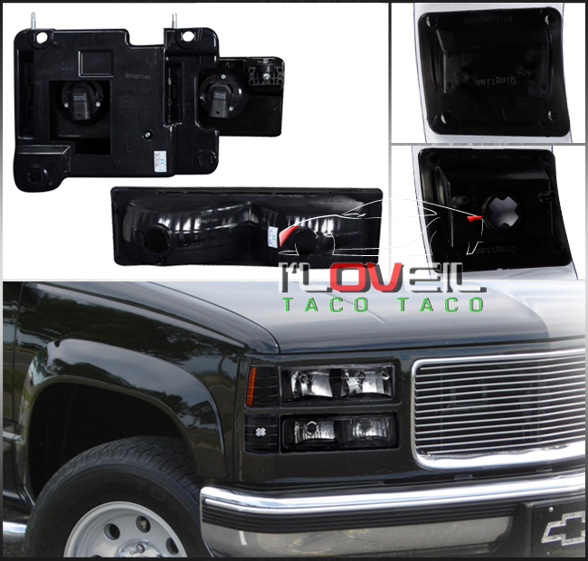 94-98 Chevy C10 Silverado Tahoe Suburban Black Headlights