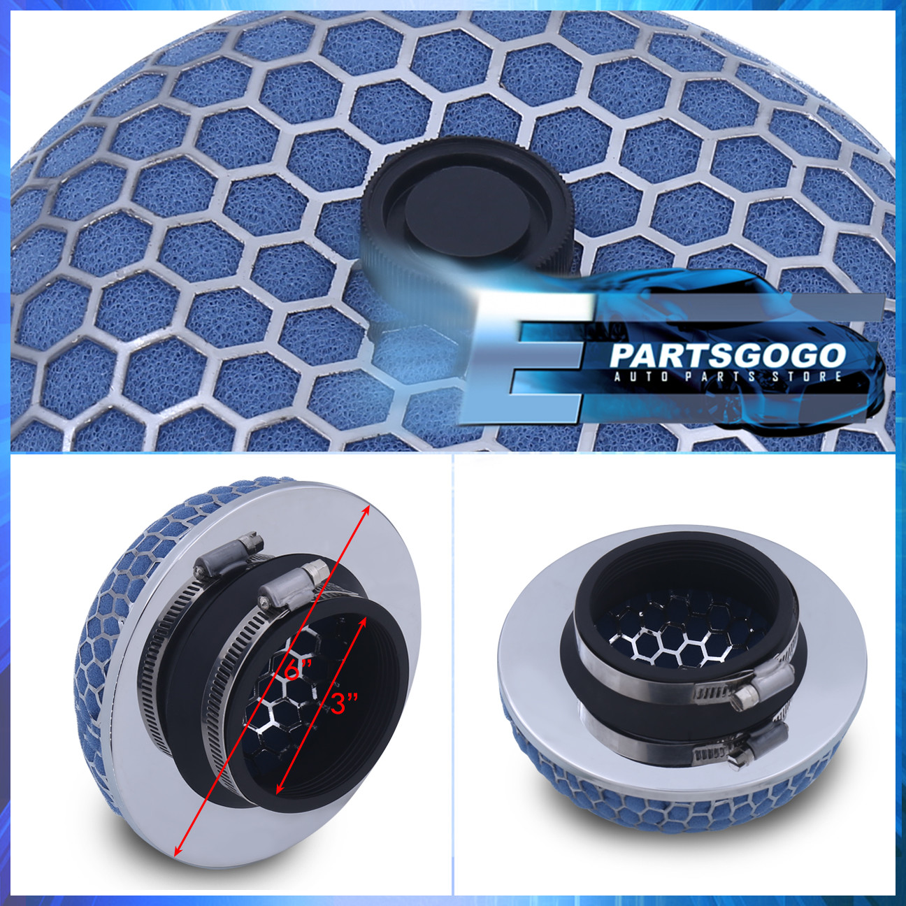 "3/"" Mushroom Style High Flow Inlet//Intake Air Filter Blue Microfoam For Nissan"