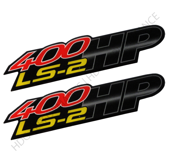 Pair of 400hp ls2 red yellow black sticker decal bumper emblem fender badge
