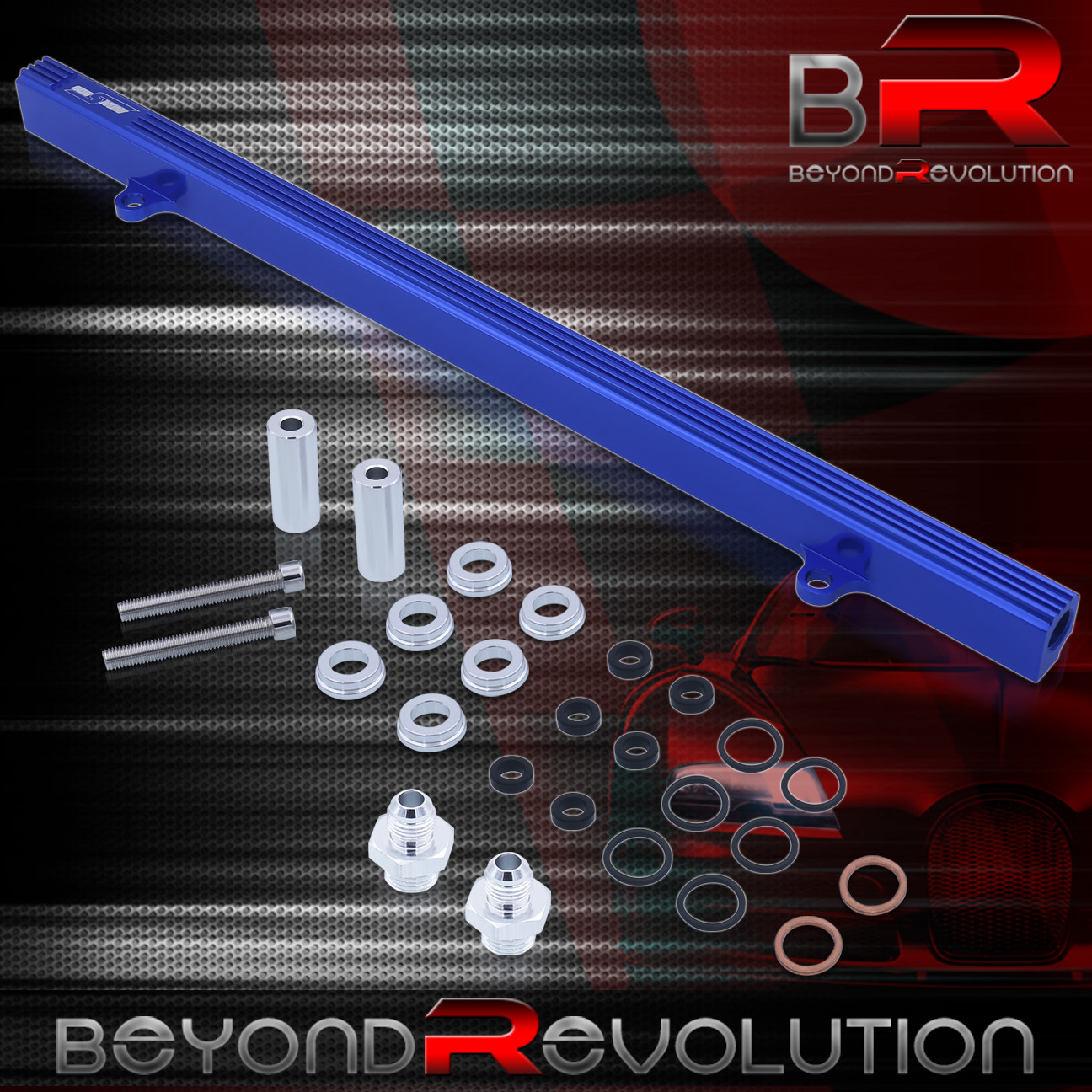 Aluminum High Flow Fuel Injector Rail Blue For R32 R33 R34 Rb25 Rb25Det Engines