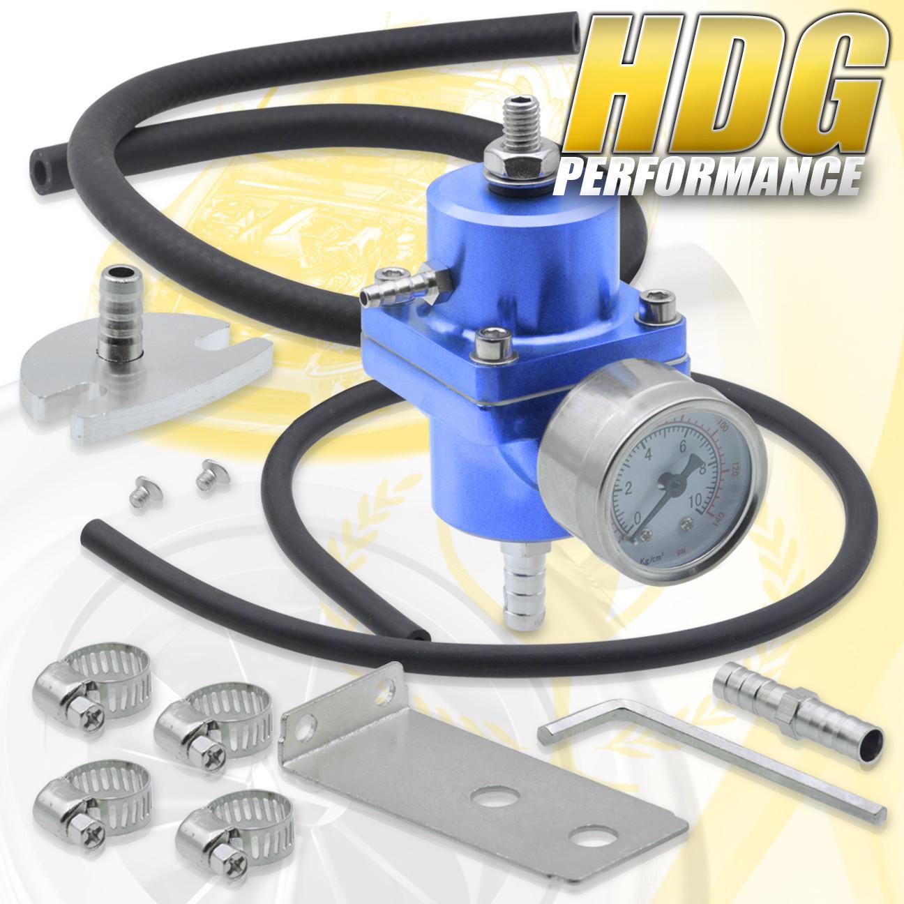 140 Psi Oil Gauge Black Jdm Kit Adjustable Aluminum Fuel Pressure Regulator